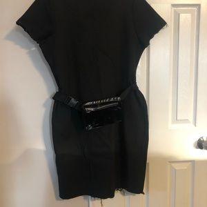 Black ribbed distressed midi dress
